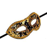 Маска венецианская для карнавала черная с золотом