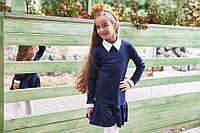 Школьное платье с длинным рукавом белым воротником, манжетами на рукавах и воланами синее 128 134 140 146