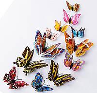 Бабочки двойные 3d на магнитах и липучке 12шт