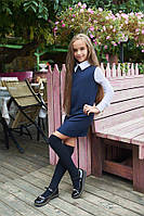 Школьное комбинированное трикотажное платье сарафан белые рукава воротник с блузки синее 128 134 140 146