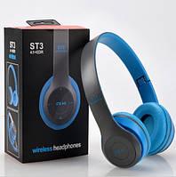 Наушники беспроводные ST Color (Bluetooth+SD card+FM+with cable) голубой