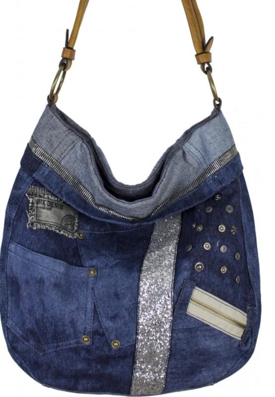 a32df9a76dca Вместительная сумка синего цвета из кожзаменителя и джинсовой ткани -  Интернет-магазин стильных сумок