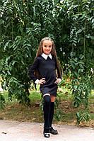 Школьное платье с длинным рукавом белым воротником, манжетами на рукавах чёрное 128 134 140 146, фото 1