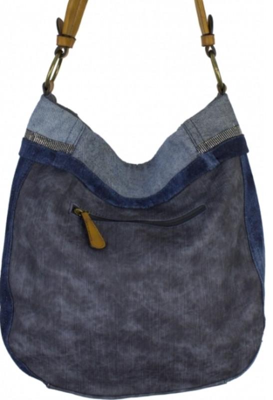 8eb9cd60dd7f Вместительная сумка синего цвета из кожзаменителя и джинсовой ткани, ...