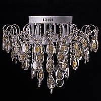 Хрустальная люстра, классическая с LED подсветкой на 6 лампочек (белое золото). P5-E1269/6+6/WT+FG