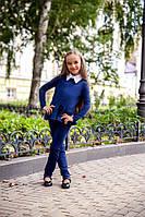 Школьная форма костюм на девочку брюки и блуза кофта с воланами с длинным рукавом чёрный 128 134 140 146, фото 1