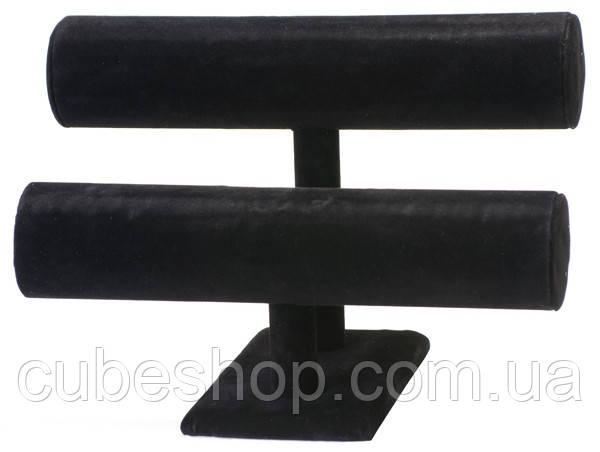 Валик двойной под браслет черный бархатный [20/23 см]