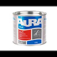 Эмаль антикоррозионная AURA 3 в 1 красно-коричневая
