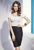 Летняя блуза из вискозы с коротким рукавом бежевого цвета, украшена стразами. Модель N02 Sunwear