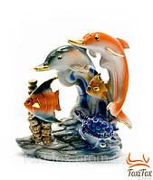 """Статуэтка """" Морская композиция - дельфины, рыбка и черепаха"""" 13 см"""