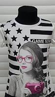 Модная футболка для девочки в звезды 128-164