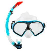 Набор для подводного плавания маска и трубка Dolvor, термостекло, силикон, PVC, голубой (М9510Р+SN52-(lbl))