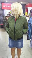 Куртка короткая женская хаки Шанель