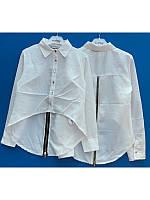 Белая нарядная блузка туника с длинным задом на замке 128-152