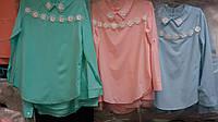 Нарядная школьная блуза с воротником  для девочки  широкий ассортимент