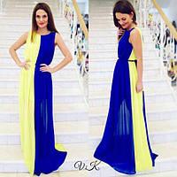 Женское платье длинное из шифона двухцветное