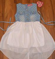 Нарядное платье -туника с джинсовым верхом 116-140