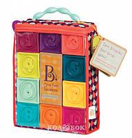 Развивающие силиконовые кубики Battat - ПОСЧИТАЙ-КА! 10 кубиков,  в сумочке, мягкие цвета