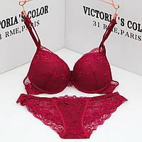 Комплект нижньої білизни 80B (36B) red, push up, набір жіночої білизни з пуш ап, фото 1