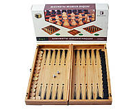 Игровой набор 3в1 Шахматы, Шашки, Нарды из бамбука 35*35см.