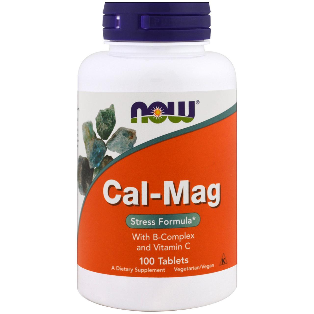 Now Foods, Cal-Mag, Stress Formula, 100 таблеток / Кальций и магний