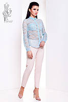 Ажурная блуза Дестини с длинным рукавом из набивного кружева