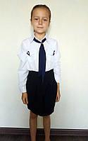 Детская рубашка белого с длинным рукавом