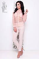 Ажурная блуза Дестини-1 с длинным рукавом из набивного кружева