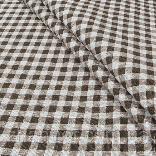 Ткань гобелен Клеточка коричневый