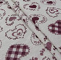 Ткань гобелен Валентинки бордовый