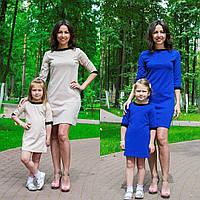 Короткое платье для мамы и дочки family look