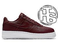 Женские кроссовки NikeLab Air Force 1 Leather Maroon 555106-661
