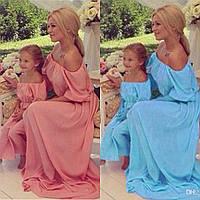 Длинный сарафан для мамы и дочки family look