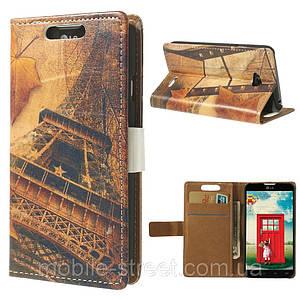 Чехол книжка для LG L65 Dual D285 боковой с отсеком для визиток, Эйфелева башня и листья