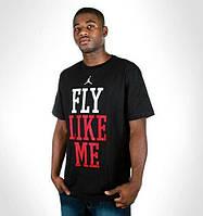 Футболка черная Jordan fly like me logo