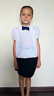 Детская белая блузка с бантиком