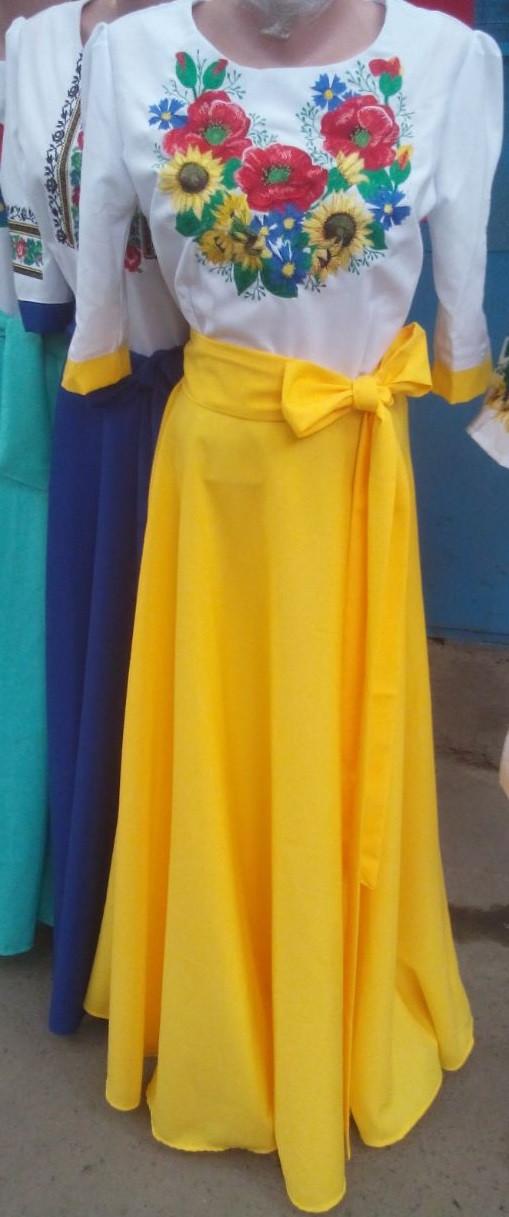 Длинное вышитое платье Подсолнух