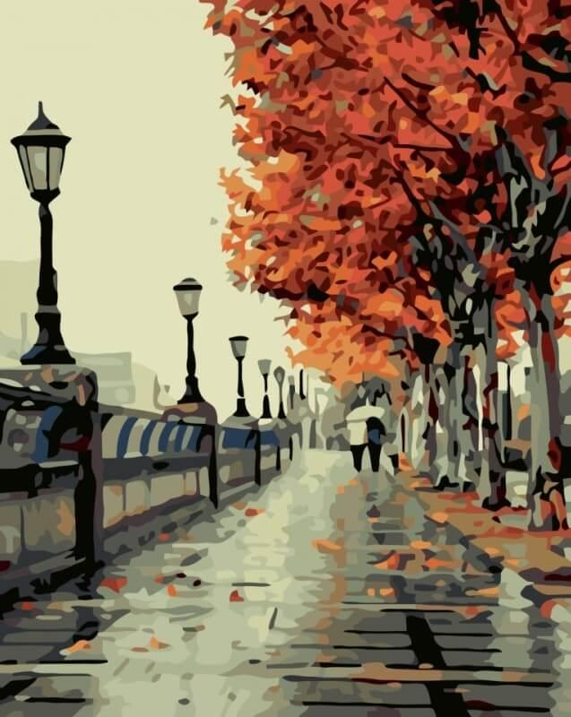 Картина по номерам Осенний сквер КНО2115 Идейка