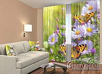 """ФотоШторы """"Цветы и бабочки"""" 2,5м*2,6м (2 половинки по 1,30м), тесьма"""