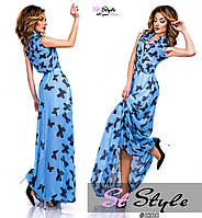 Длинное шифоновое платье на лето  ЕМ-88572