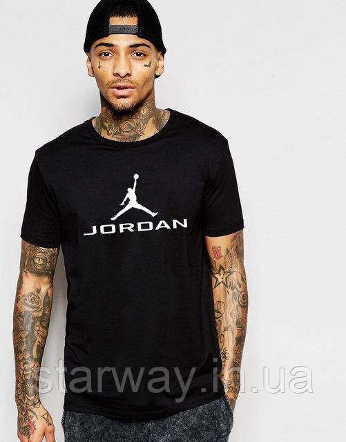 Футболка черная Jordan белый принт