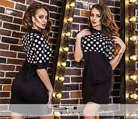 Трикотажное платье в горошек ЮС-88070
