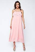 Розовое длинное шифоновое платье с рюшами на груди