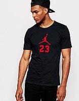 Футболка черная Jordan 23 красный принт