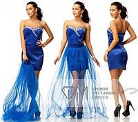 Красивое вечернее платье из атласа и фатина  СД-88800