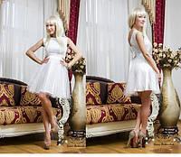 Короткое вечернее платье из гипюра и фатина СД-88796