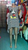Полосатое платье - туника ассиметрия СД-882024
