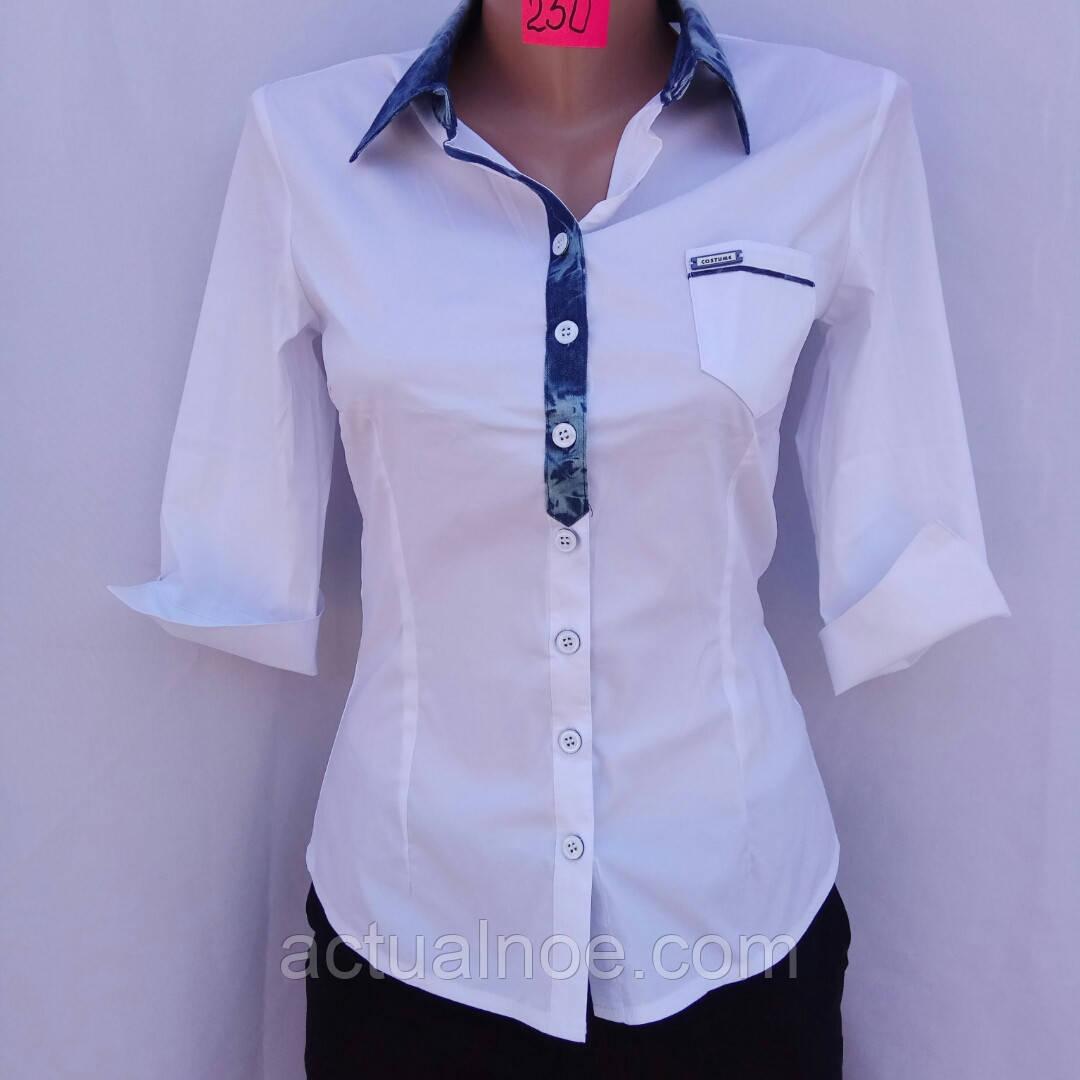 fc6ef6673c0a Блузка рубашка женская белая рукав 3 /4 - Интернет-магазин