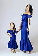 Длинное платье для мамы и дочки с воланом family look