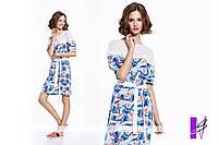Летнее платье с декором из сетки и кружева ЮГ-881059